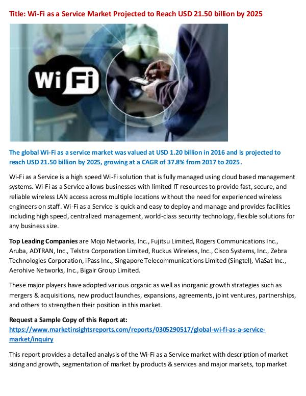 Research Report Wi-Fi as a Service Market Projected to Reach USD 2