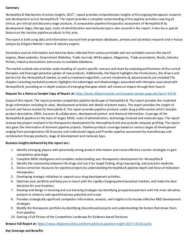 Hemophilia B – Pipeline Research and Analysis 2017 Hemophilia B