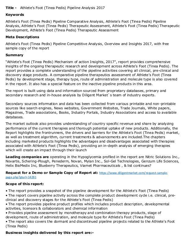 Axial Spondyloarthritis Pipeline Rising Demand 2017 Athlete's Foot (Tinea Pedis) - Pipeline Insight, 2