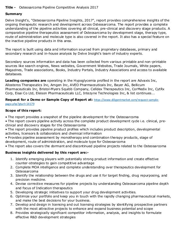 Market Research Osteosarcoma - Pipeline Insight, 2017