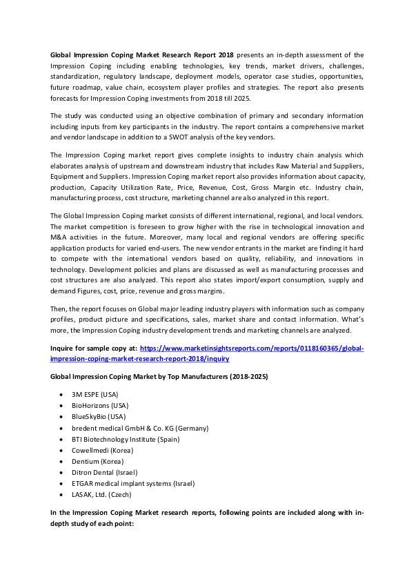 Market Research Impression Coping Market Enhancement in Medical se