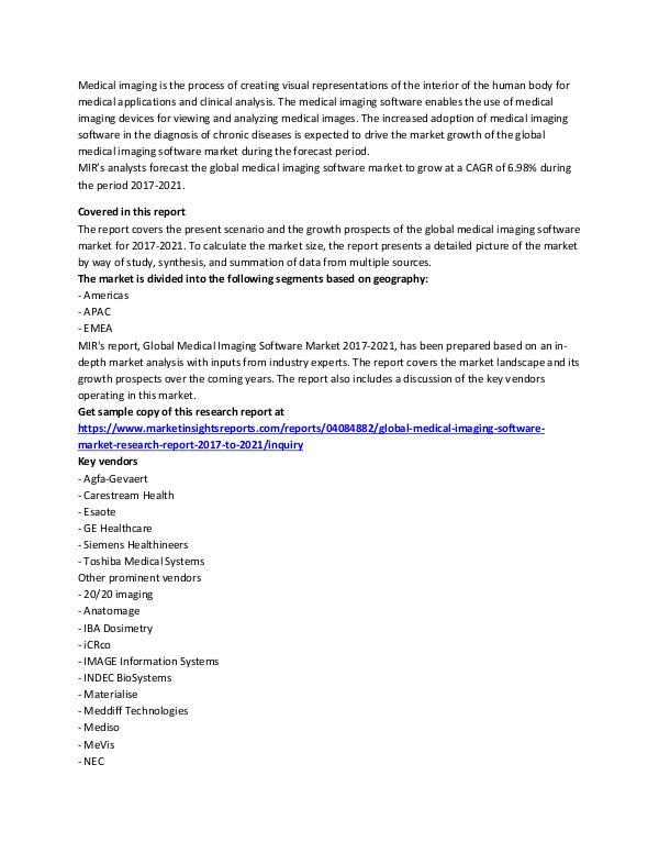 Global Medical Imaging Software Market Analysis