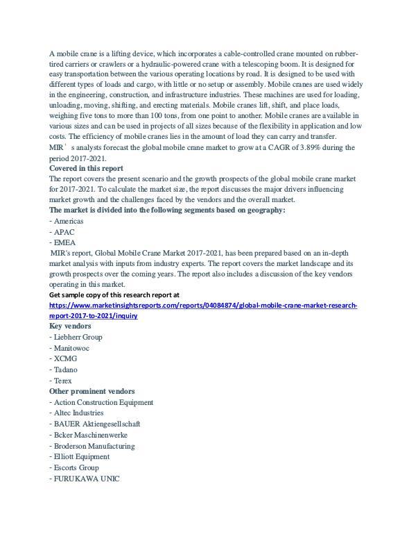Global Mobile Crane Market Analysis 2018