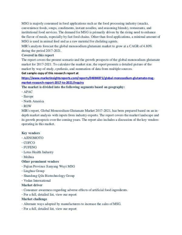Global Monosodium Glutamate (MSG) Market Analysis