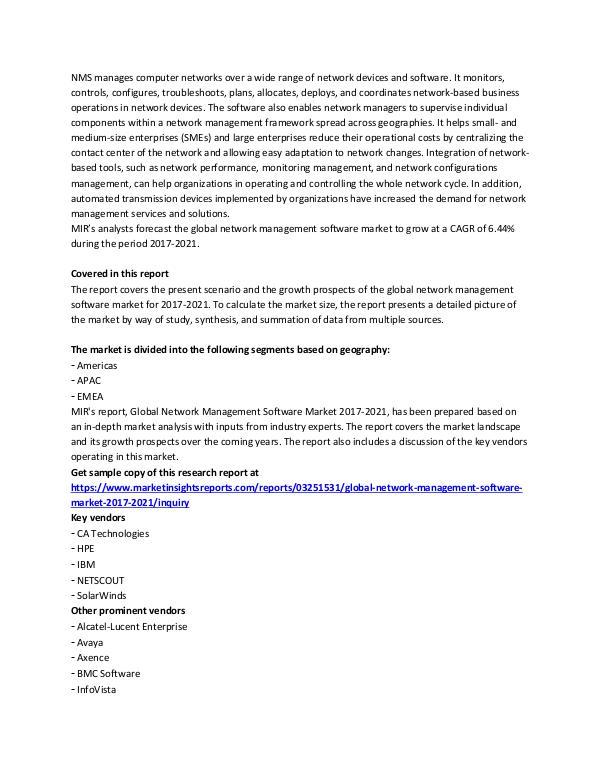 Global Network Management Software Market