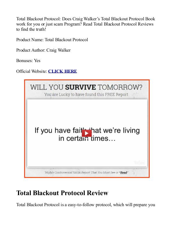 Total Blackout Protocol PDF / eBook Review Free Download Craig Walker