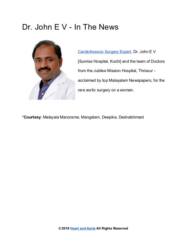 Cardiac Surgeon Dr John E V - In The News