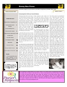 The Honey Bee Press October - December 2013