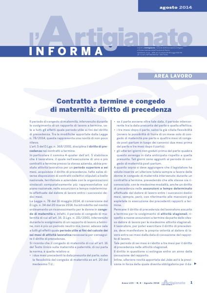 L'Artigianato Informa Agosto 2014