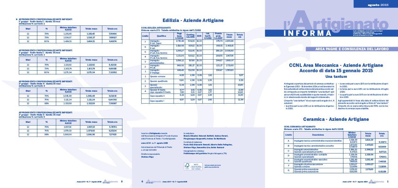 L'Artigianato Informa Agosto 2015