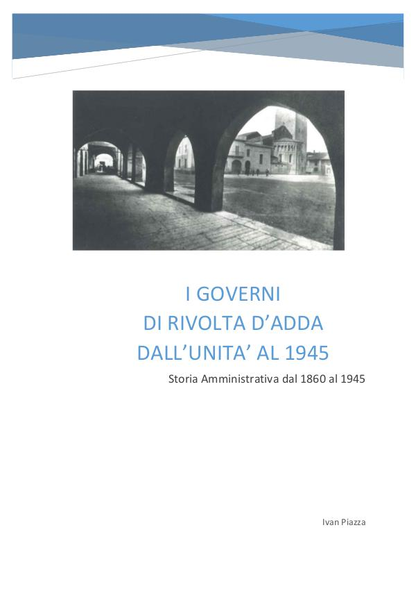 I GOVERNI DI RIVOLTA D'ADDA DALL'UNITA' AL 1945 St
