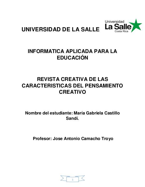 Características del pensamiento creativo Caracteristicas del pensamiento creativo