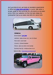 Limo Hire Services in Walsall at Affordable Cost