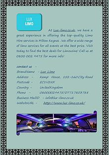 Milton Keynes Limo Hire Services at Lux-limo.co.uk
