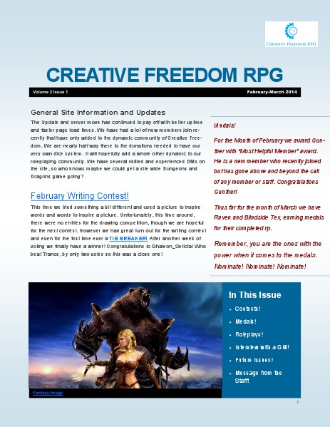 Creative Freedom RPG Newsletter Volume 2 Issue 1 Volume 2
