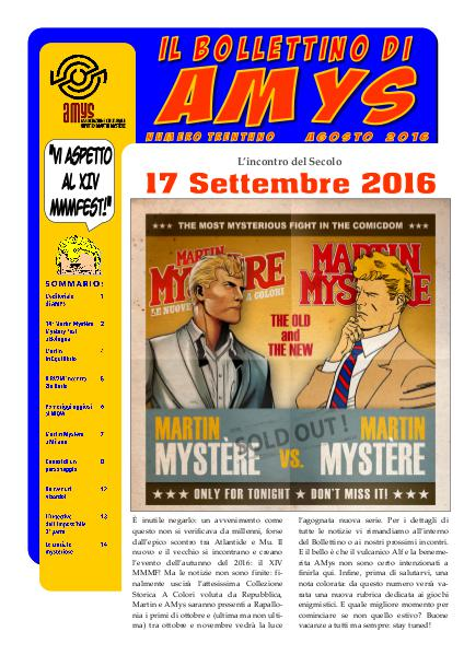 AMys - Bollettino Informativo N.31 - Agosto 2016