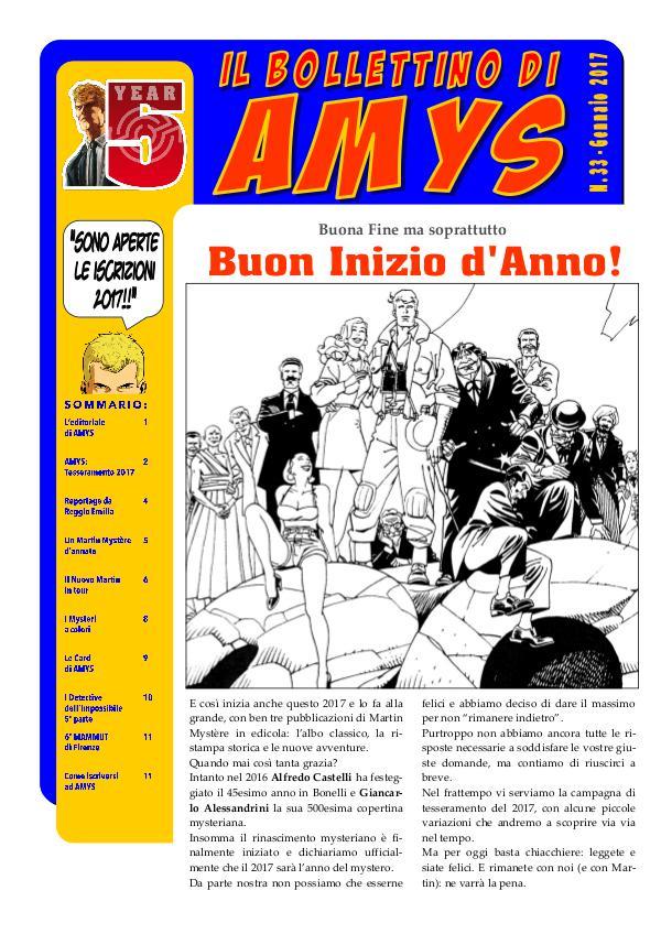 AMys - Bollettino Informativo 33 - Gennaio 2017