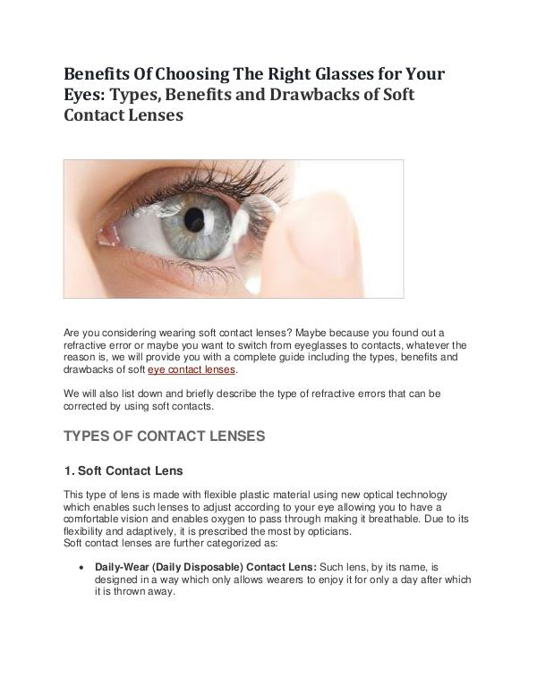 Benefits Of Choosing The Right Glasses for Your Eyes Benefits Of Choosing The Right Glasses for Your Ey