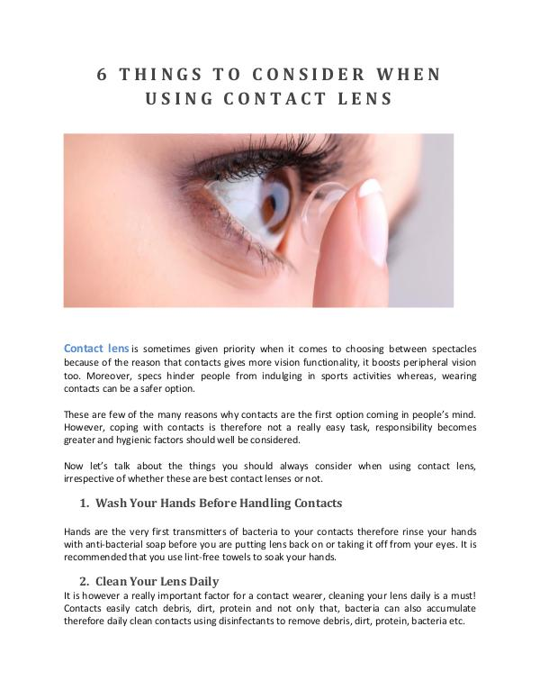 6 THINGS TO CONSIDER WHEN USING CONTACT LENS 6 THINGS TO CONSIDER WHEN USING CONTACT LENS