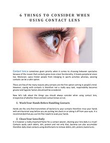 6 THINGS TO CONSIDER WHEN USING CONTACT LENS