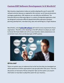Custom ERP Software Development Is It Worth It?