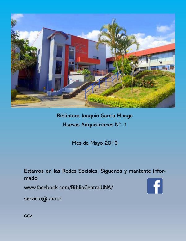 Biblioteca Joaquin García Monge- UNA Adquisiones  mayo