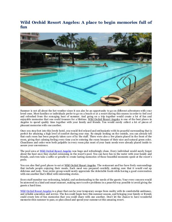 Wild Orchid Beach Resort and Hotel Wild Orchid Resort Angeles:A place to begin memory