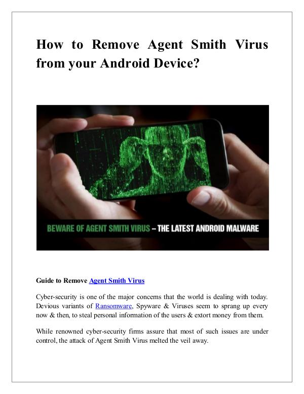 How remove agent Smith Malware from your android How to Remove Agent Smith Virus from your Android