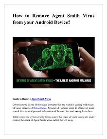 How remove agent Smith Malware from your android