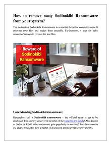 How to remove nasty Sodinokibi Ransomware from your system?