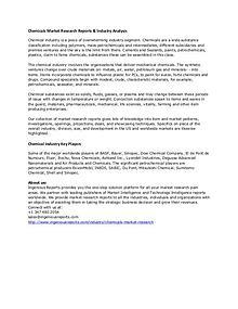 Market Research - Chemical Market Forecast | IngeniousReports