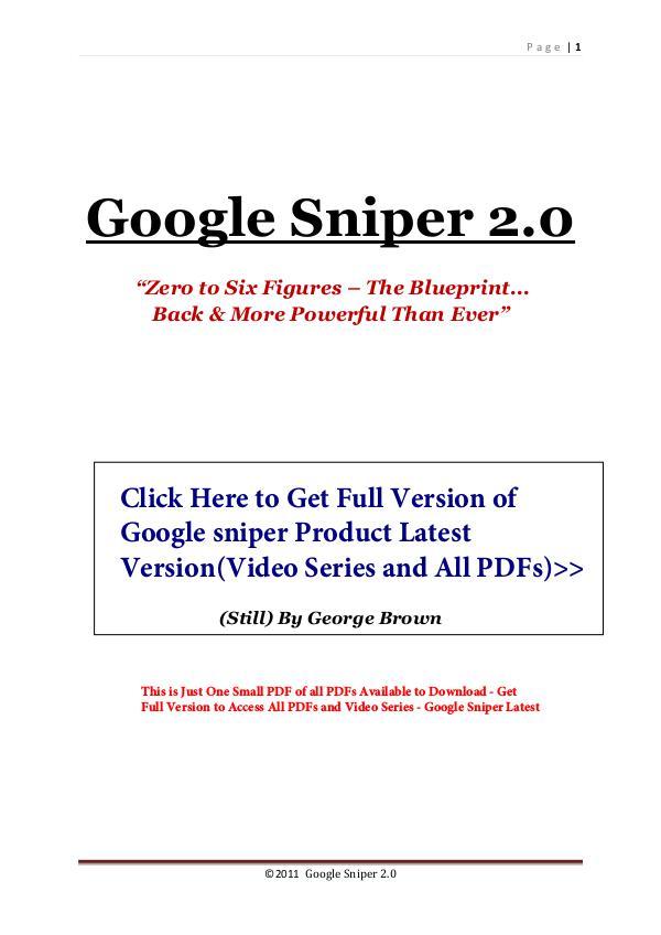 Get Google Sniper Review PDF eBook Book Free Download