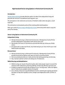 High Standard Senior Living Options in Retirement Community PA