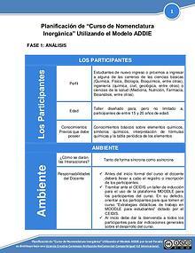 Diseño de Curso de Nomenclatura Inorgánica utilizando el modelo ADDIE