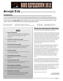 Straight Talk: Answers to the most common questions regarding the Fort Lee Public Schools 2012 Bond Referendum