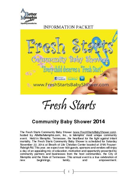 Fresh Starts Community Baby Shower Sonsor Package 2014