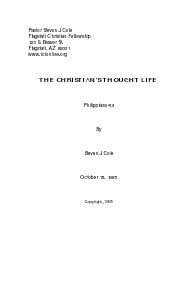 THE CHRISTIAN'S THOUGHT LIFE Nov 2013