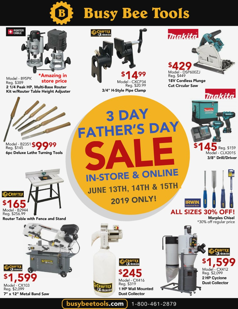 Busy Bee Tools 3 Day Fathers Day Sale 2019