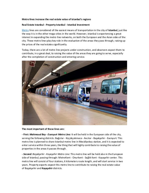 Real Estate in Turkey Metro lines increase the real estate value of Ista