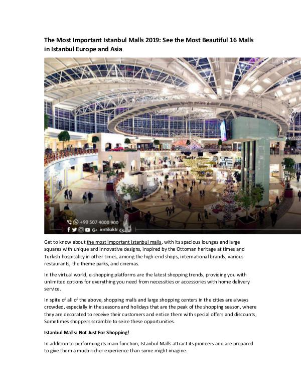 Real Estate in Turkey The Most Important Istanbul Malls 2019 See the Mos