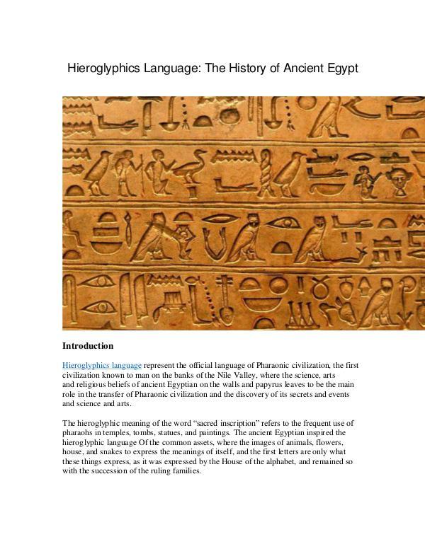 Hieroglyphics Language The History of Ancient Egyp