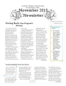 In God's Hands: TLH, INC.: October/November Newsletter