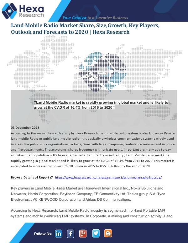 Market Analysis Report Land Mobile Radio Market