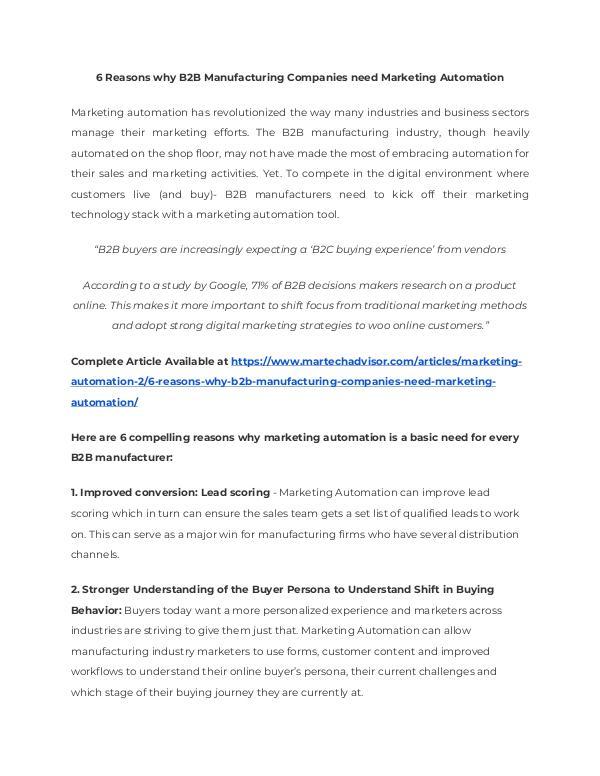 6 Reasons why B2B Manufacturing Companies need Marketing Automation 6 Reasons why B2B Manufacturing Companies need Mar