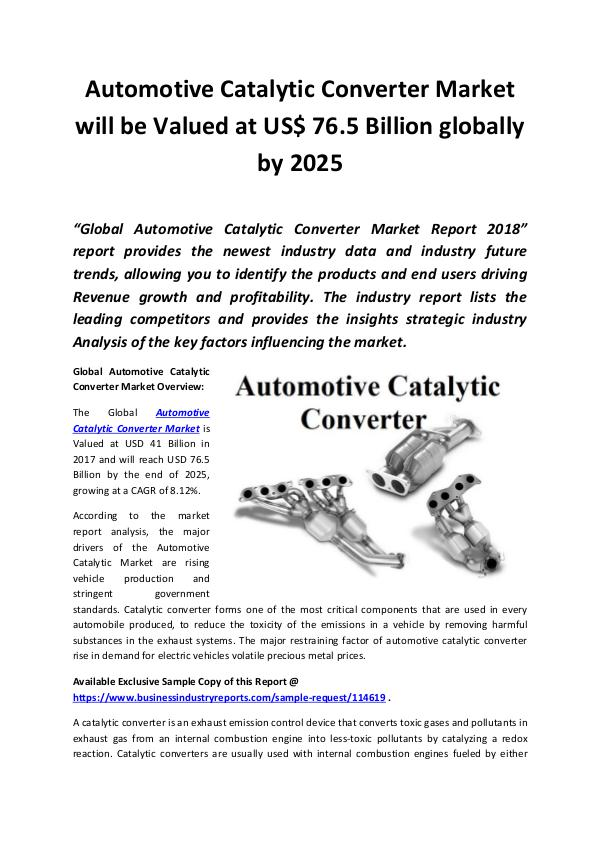 Market Research Reports Automotive Catalytic Converter Market 2018 - 2025