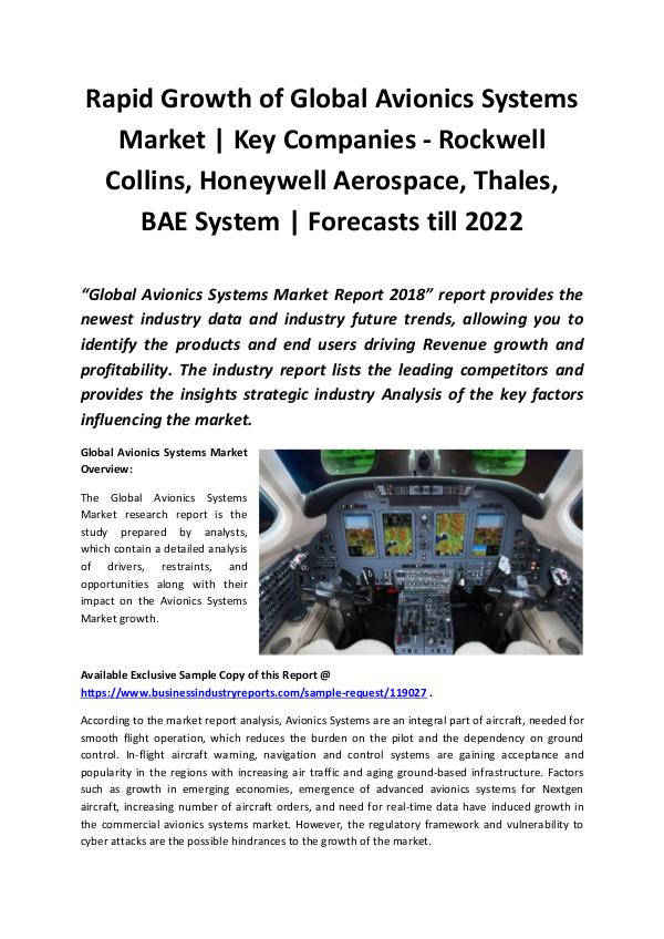 Market Research Reports Avionics Systems Market 2018 - 2022