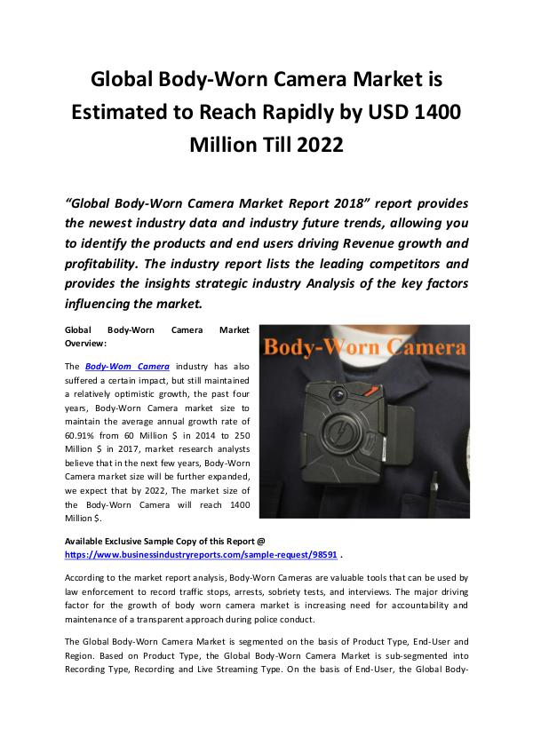 Market Research Reports Body-Worn Camera Market 2018 - 2022