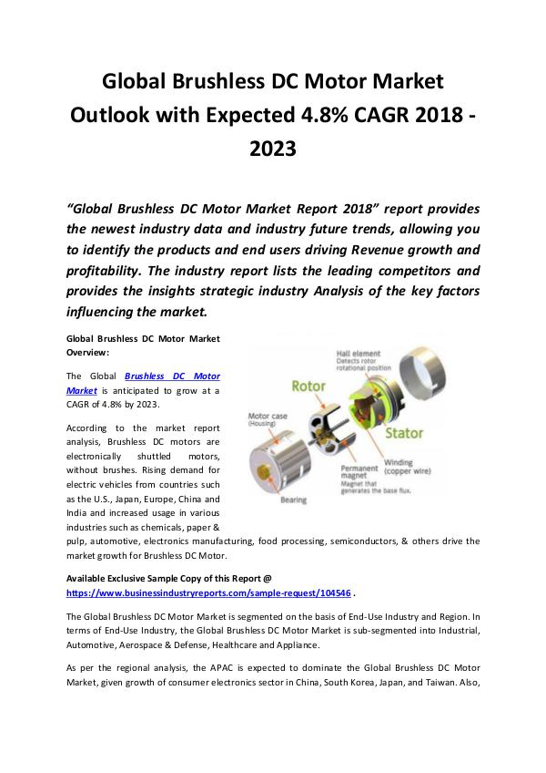 Market Research Reports Brushless DC Motor Market 2018 - 2023