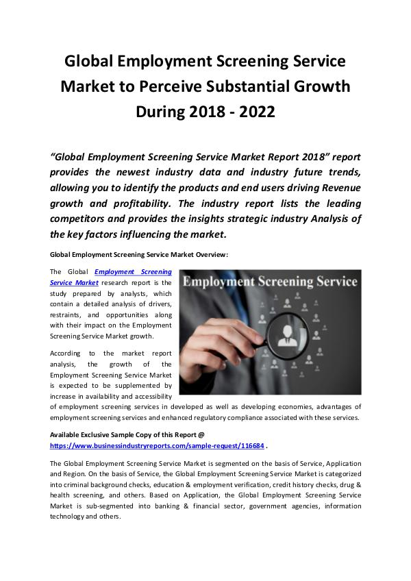 Market Research Reports Employment Screening Service Market 2018 - 2022