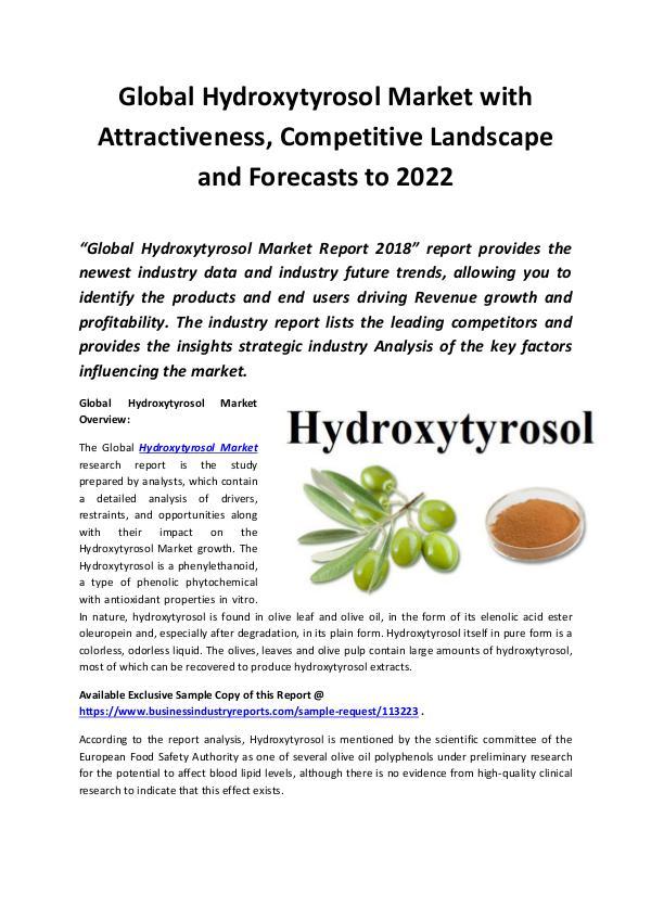 Market Research Reports Global Hydroxytyrosol Market 2018 - 2022